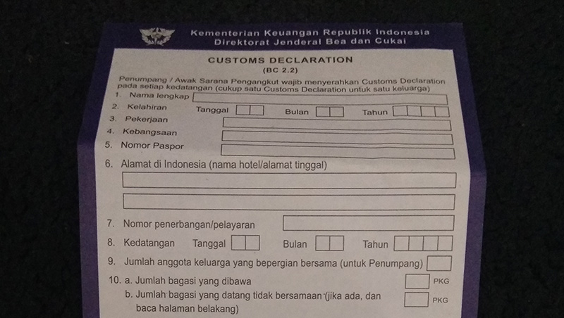 Cara Mengisi Form Customs Declaration Indonesia